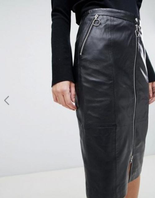 Gestuz - Nadine - Jupe fourreau mi-longue en cuir
