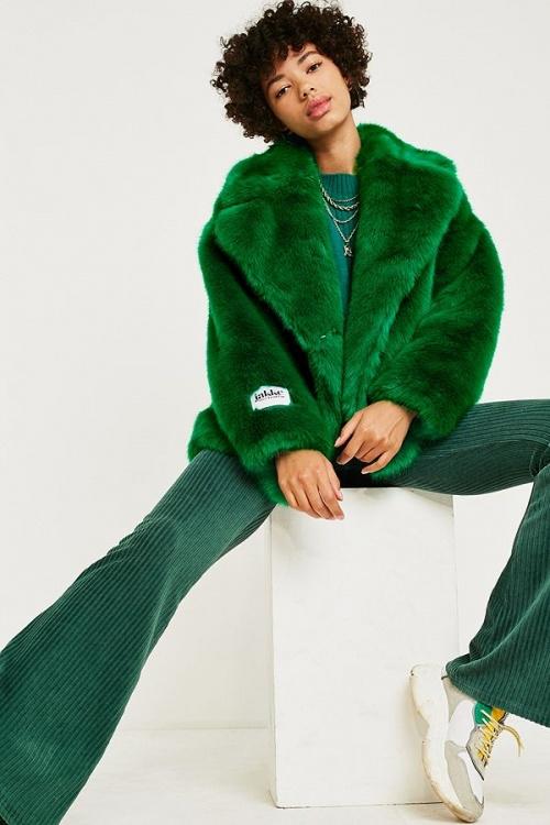 Jakke - Rita Green Faux Fur Jacket