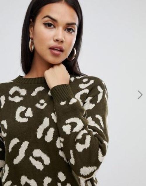Boohoo - Pull léopard - Kaki