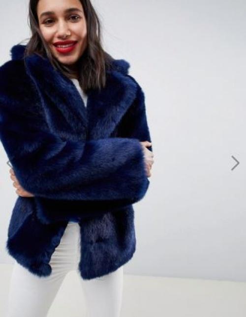 ASOS DESIGN - Manteau en fausse fourrure avec col