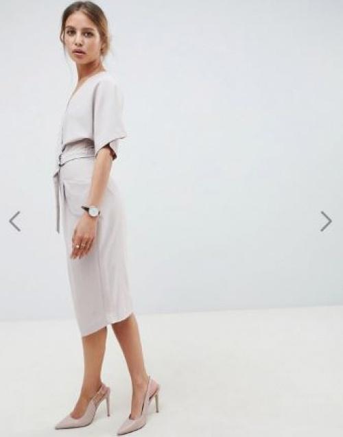 ASOS DESIGN - Robe mi-longue avec jupe portefeuille et ceinture avec anneau en D