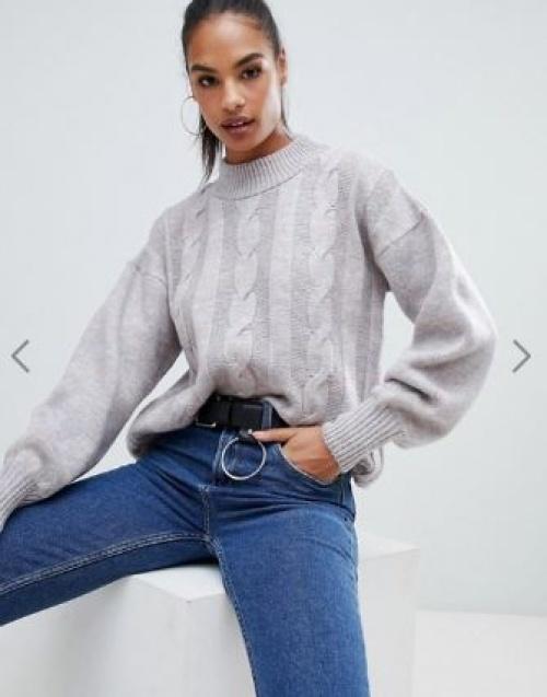 Boohoo - Pull en tricot torsadé à col montant - Gris espace