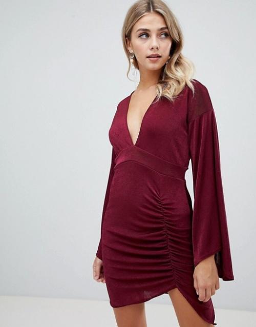 Missguided - Robe courte près du corps à manches évasés