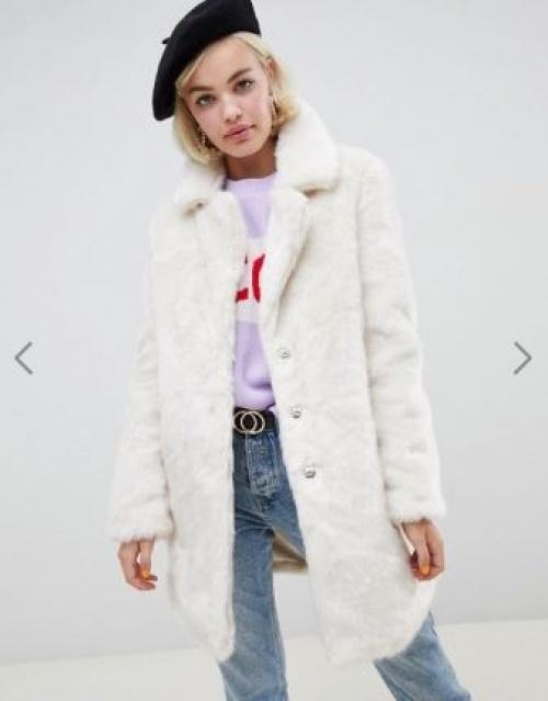 Glamorous - Manteau long coupe décontractée en fausse fourrure