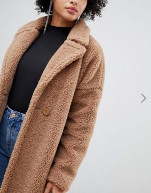 Missguided - Manteau long en imitation peau de mouton - Marron