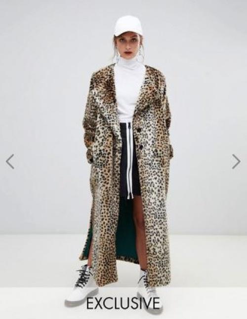 Story Of Lola - Manteau long en fausse fourrure à imprimé léopard