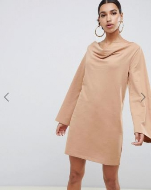 ASOS DESIGN - Robe sweat courte à col bénitier