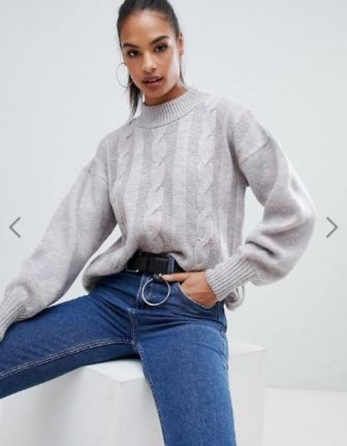 Boohoo - Pull en tricot torsadé à col montant