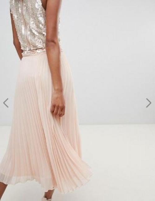 Lace & Beads - Jupe mi-longue plissée avec taille ornementée