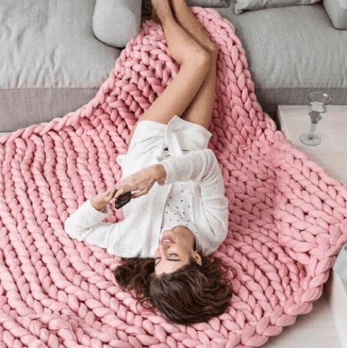 Hexagone Avenue - Maxi plaid tricot avec grosses mailles
