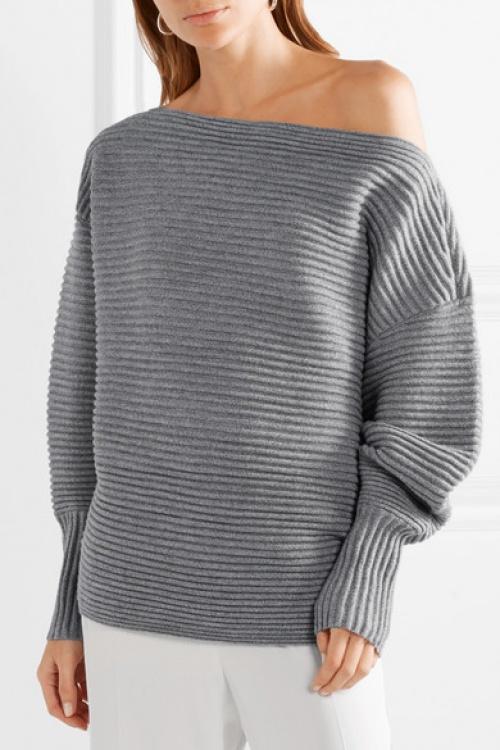 Victoria Beckham - Pull asymétrique en laine mérinos côtelée