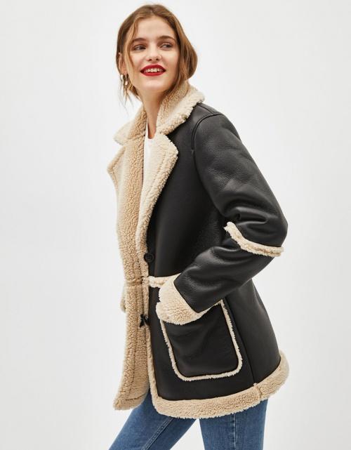 Bershka - Manteau double face avec mouton synthétique
