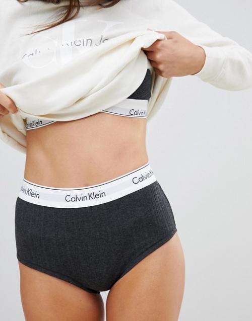 Calvin Klein - Culotte taille haute côtelée