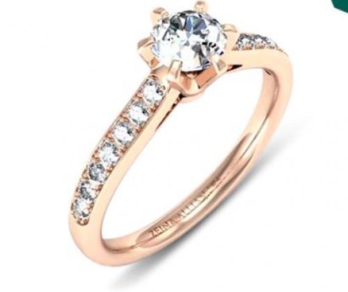 Zeina Alliances - Val Solitaire Or Rose & Diamants