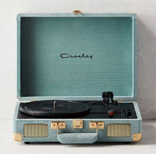 Crosley Cruiser - Tourne-disque en vinyle Bluetooth en velours côtelé bleu