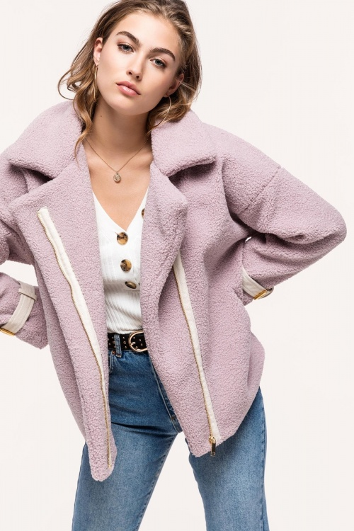 Loavies - Lilac Teddy Coat