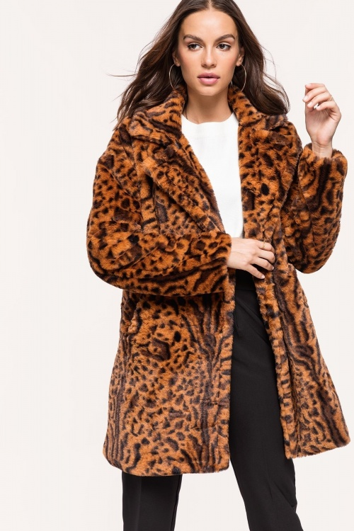 Loavies - Camel Faux Fur Coat