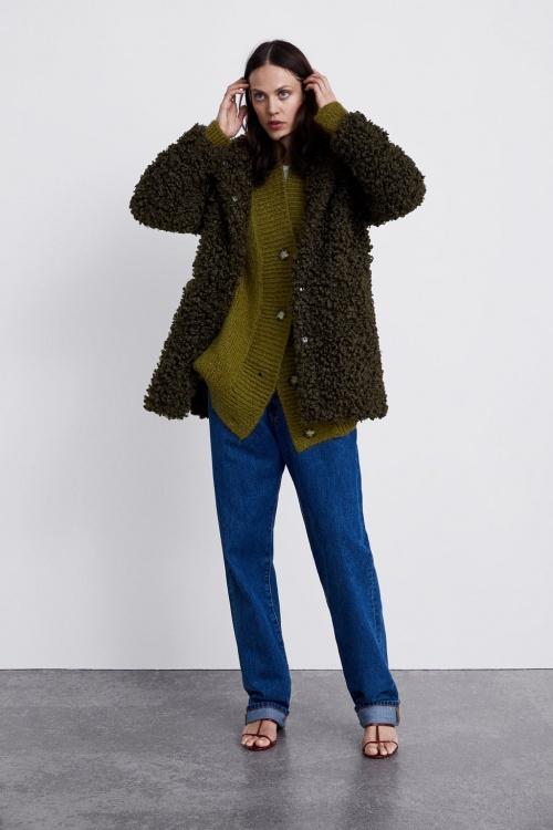 Zara - Manteau effet fausse fourrure à capuche