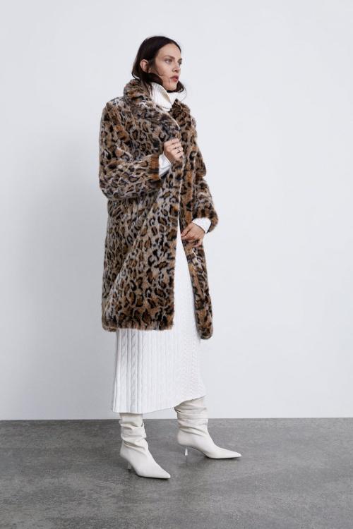 Zara - Manteau à imprimé animalier
