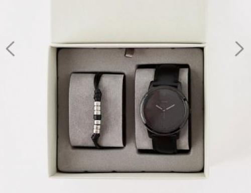 Fossil - FS5500SET - Coffret cadeau avec bracelet et montre en cuir minimalistes