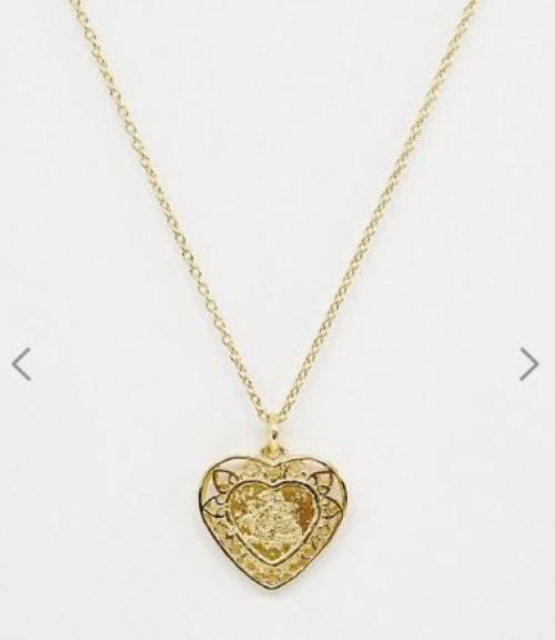 ASOS DESIGN - Collier en argent massif plaqué or avec pendentif cœur et motif dragon