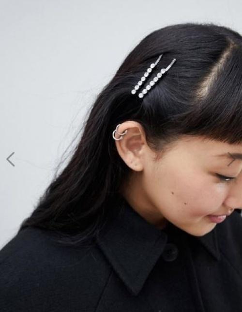 Monki - Épingle à cheveux avec strass transparents