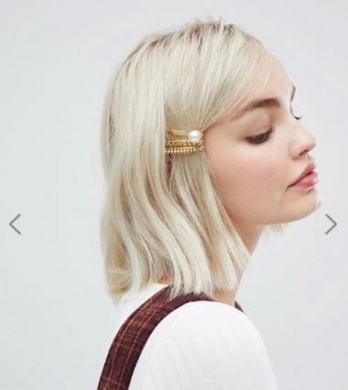 DesignB London - Barrettes à cheveux avec chaîne - Or avec perles
