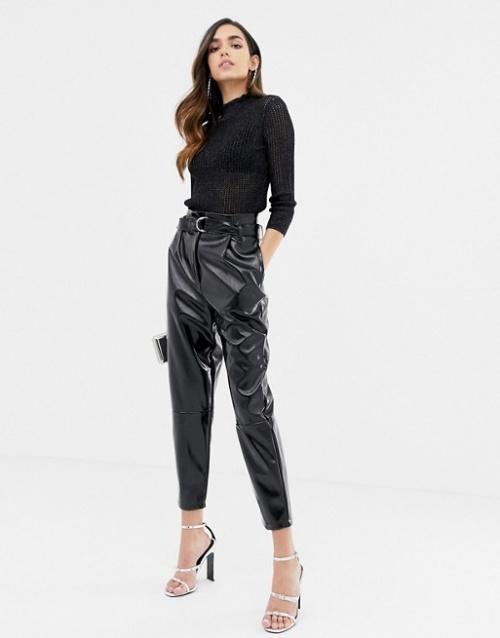 ASOS DESIGN - Pantalon taille haute fuselé vinyle