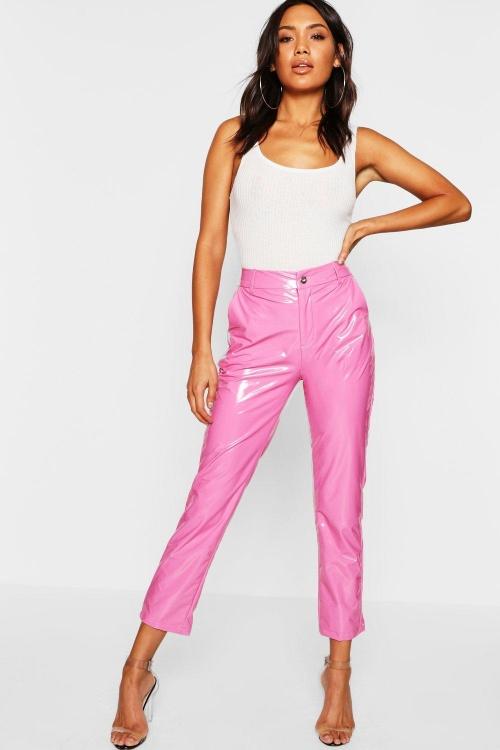 Pantalon Skinny en vinyle rose