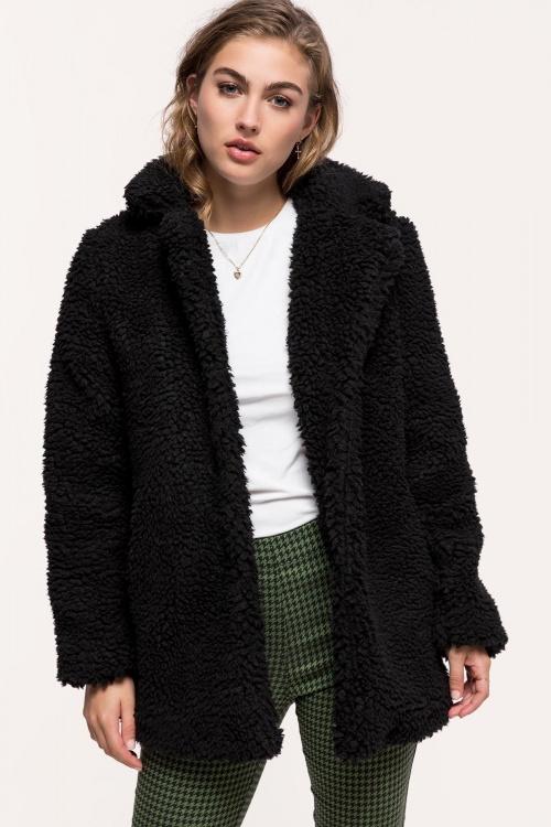 Loavies - Zwarte Teddy Coat