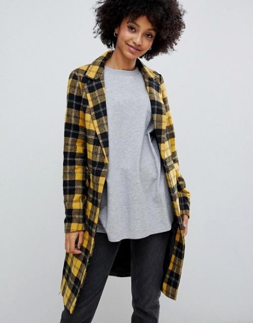 New Look - Manteau ajusté à carreaux écossais