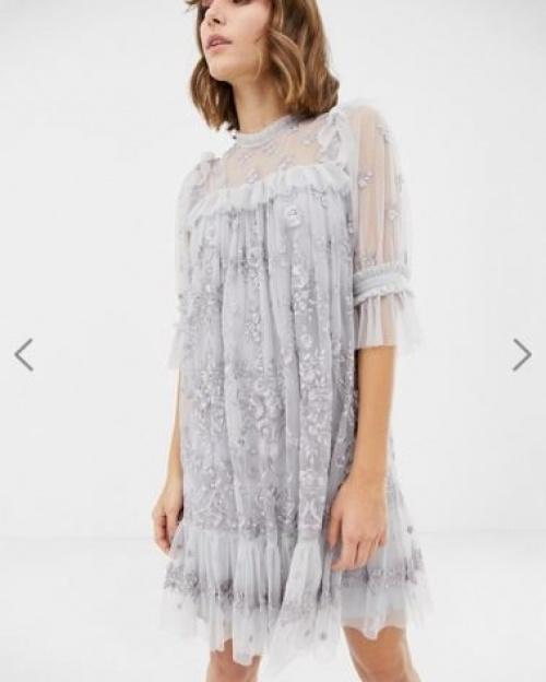 Needle & Thread - Robe courte en dentelle à encolure montante