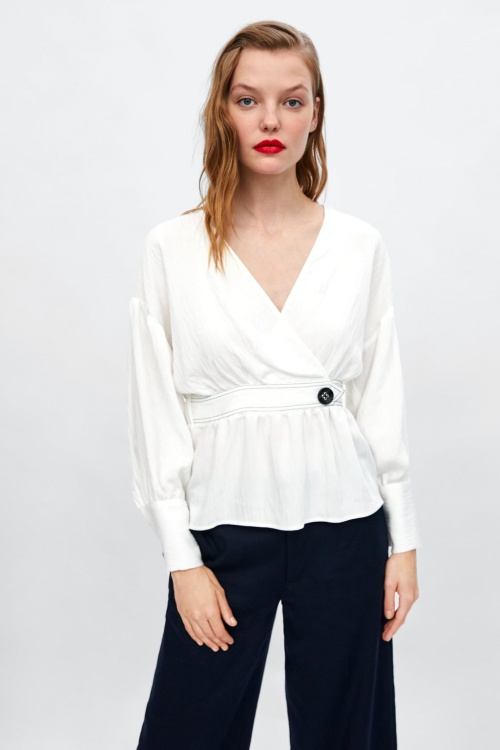 Zara - Blouse surpiquée en contraste