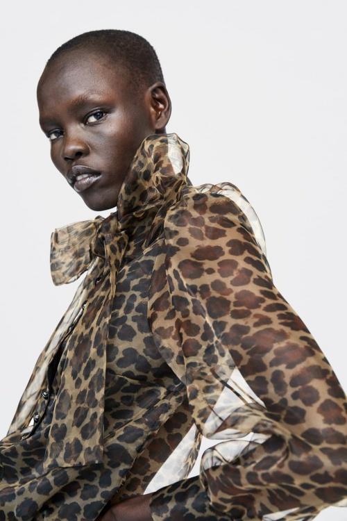 Zara - Blouse avec noeud à imprimé animalier