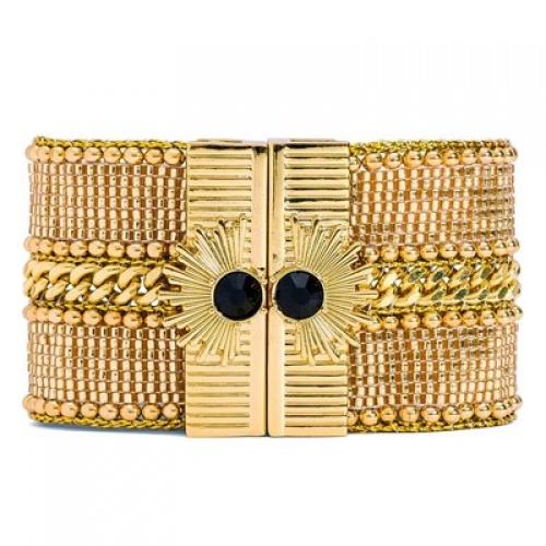 HIPANEMA - bracelet manchette or