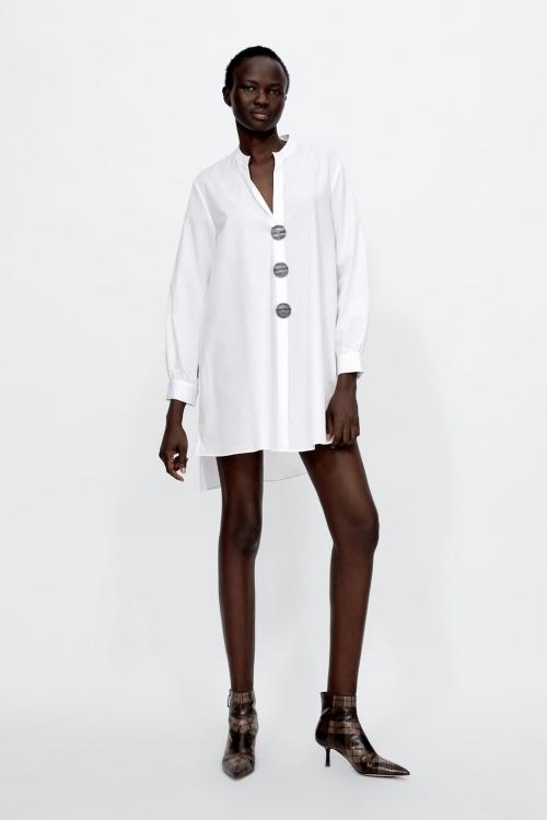 Zara - Blouse en popeline à boutons