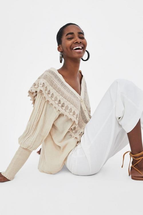 Zara - Blouse bimatière en crochet