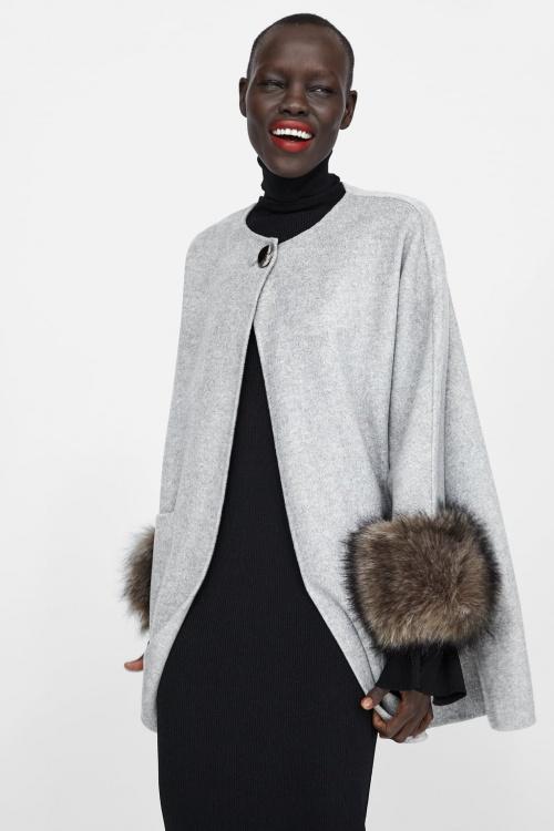 Zara - Manteau effet fourrure aux poignets