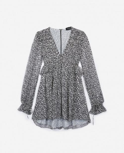 The Kooples - Robe soie grise à imprimé léopard