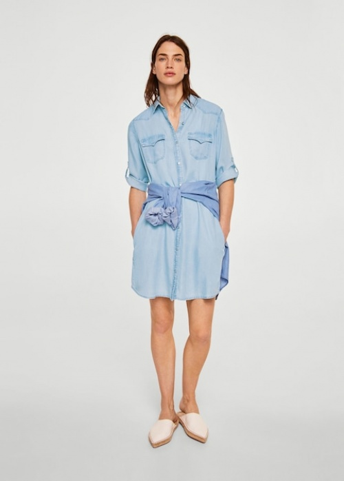 Mango - Robe chemiser denim
