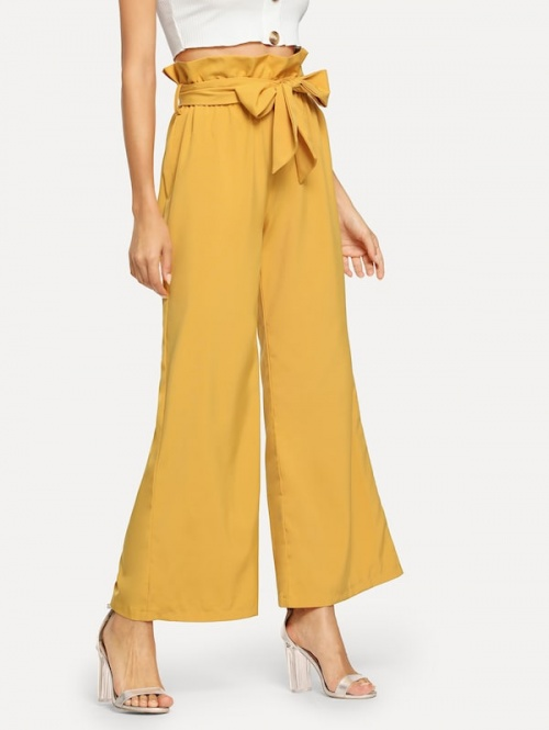 SHEIN - Pantalon unicolore ample avec ceinture