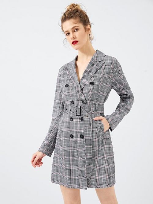 SHEIN - Robe ceinturée à carreaux avec double boutons