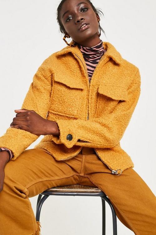 UO - Blouson teddy zippé moutarde