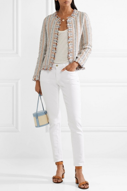 Tory Burch - Cardigan en tweed à franges Hollis