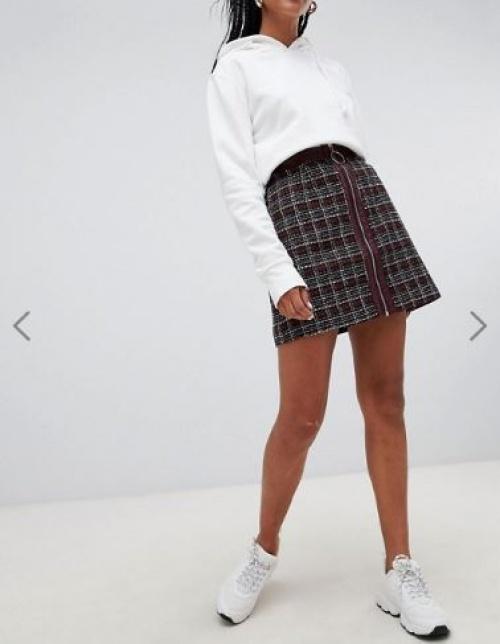Glamorous - Mini-jupe en tweed style 90's avec fermeture éclair à anneau