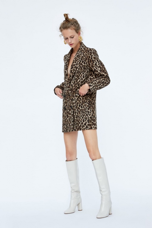 Zara - Manteau à imprimé léopard