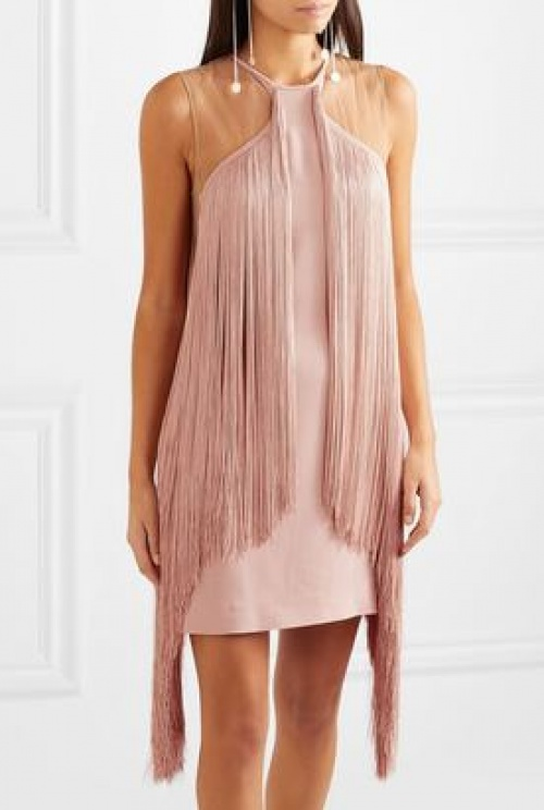Stella McCartney - Mini-robe en cady stretch à empiècements en tulle et à franges