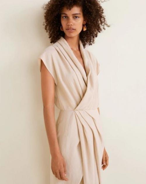 Mango - Robe soft col drapé