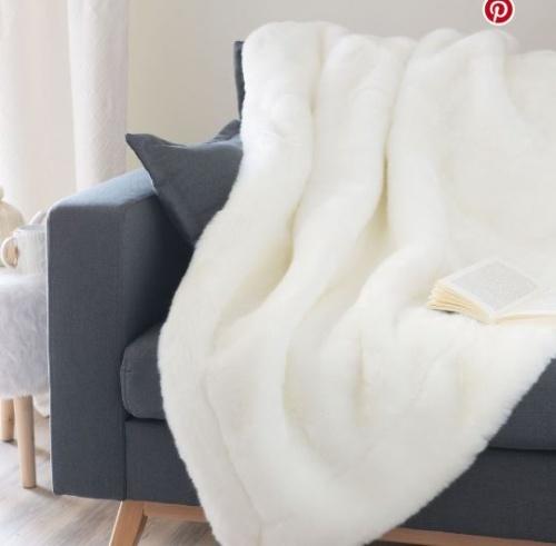 Maisons du monde - SNOWDOWN - Plaid en fausse fourrure blanc 150 x 180 cm