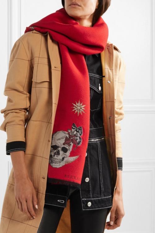 Alexander McQueen - Écharpe en laine mélangée à broderies